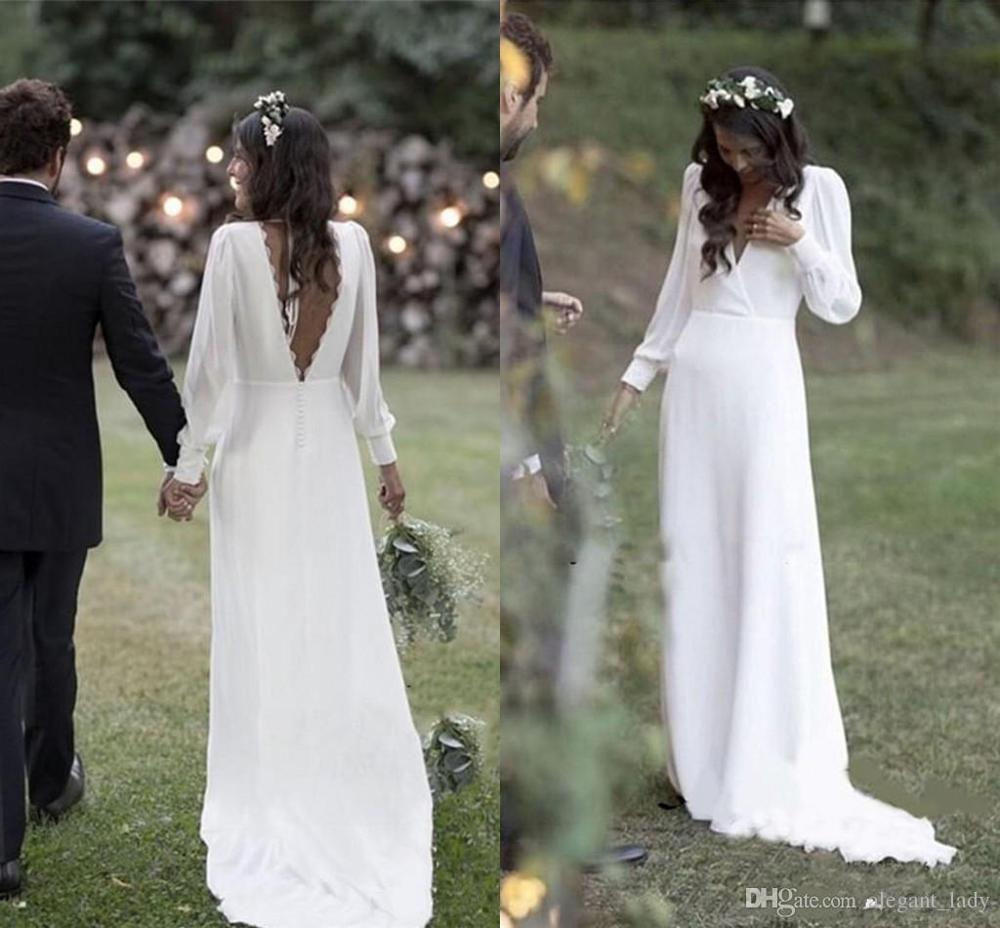 Simple 2019 bohème pays robes de mariée col en v dos nu manches longues plage grande taille robe de mariée vestido de novia pas cher