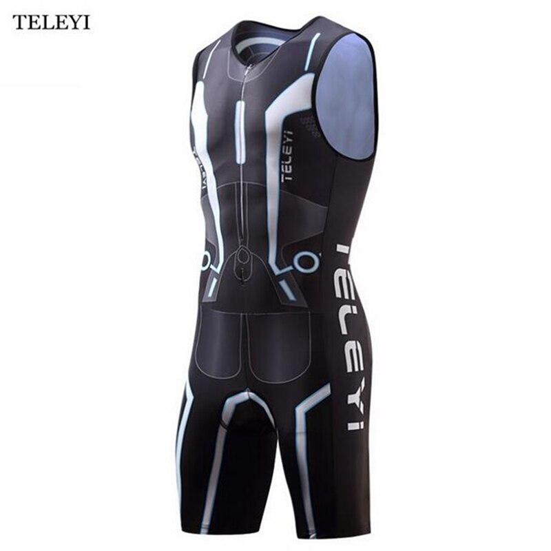Triathlon Ciclismo Jersey Ropa ciclismo Compressão Bicicleta Jersey Equitação Sportswear dos homens de Uma Peça Sem Mangas Roupas Bicicleta
