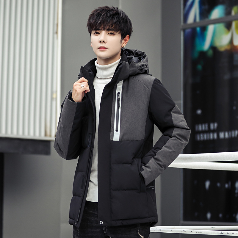 Mens Hooded Duck   Down   Jackets Man Patchwork Thick Winter   Down     Coats   Male Fashion High Quality Overcoats Keep Warm Outerwear 8006