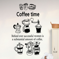 Coffee Shop Vinyl Decal Coffee Cup Coffee Bean Coffee Machine Mural Art Wall Sticker Cafe Bar Window Glass Home Decoration
