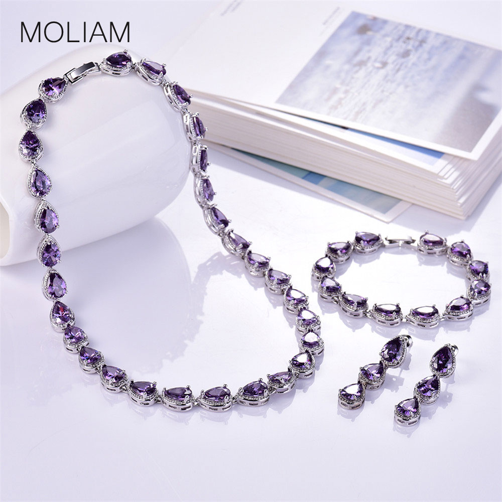 MOLIAM Luxury Necklace/Earrings/Bracelet for Women Elegant Cubic Zirconia Crystal Wedding Engagement Jewelry Set 5 Colors MLT028