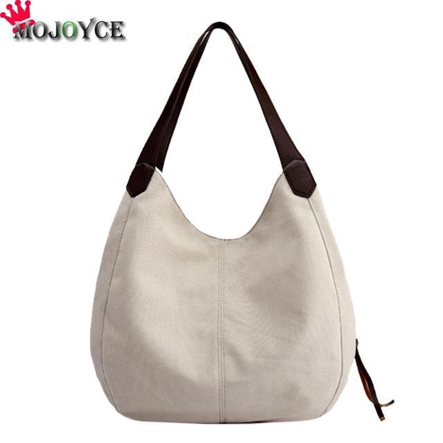 Mojoyce Vintage Women Canvas Handbags Female Hobos Single Shoulder Bag Las Casual Totes Sling Solid Stylish