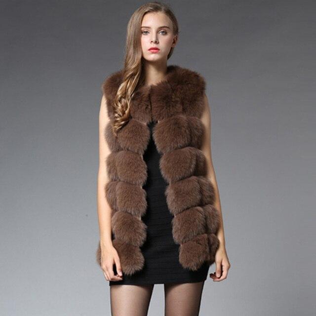 70CM Real Fur Vest 2016 Winter Thick Silver Fur Coat Jackets for Women Sleeveless Medium Long Genuine Fur Vest Colete De Pele