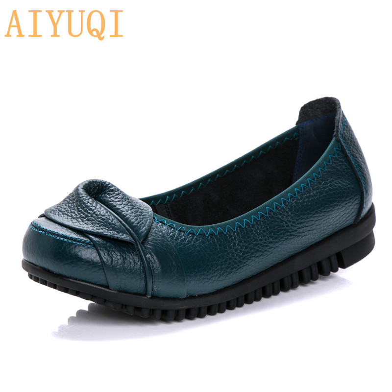 Buy AIYUQI Women's shoes spring 2019 new women's loafers genuine leather wear-resistant flower non-slip mother shoes for only 43.99 USD