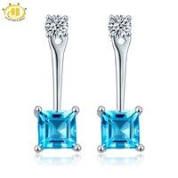 Hutang Genuine Blue Topaz Drop Earrings Solid 925 Sterling Silver Gemstone Fine Jewelry Double Side Earring