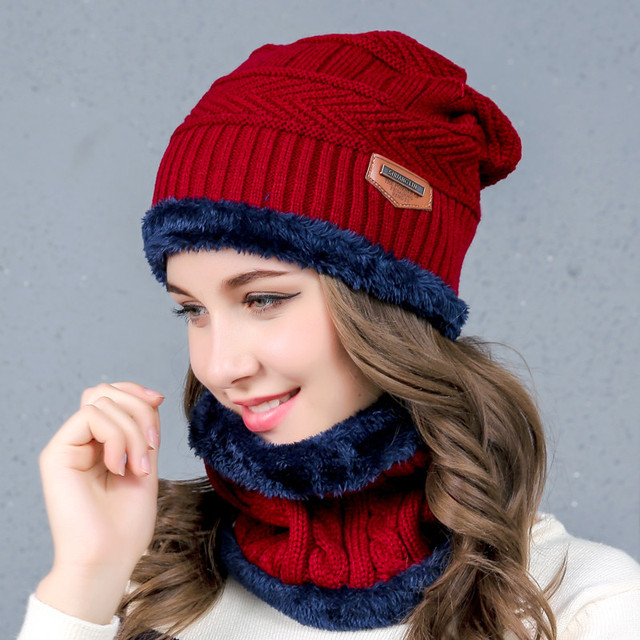 7c3c9463e48ab 2018 NEW Women s Knitted Hat Scarf Caps Neck Warmer Winter Hats For Men  Women Skullies Beanies Warm Fleece Cap 6 Colors