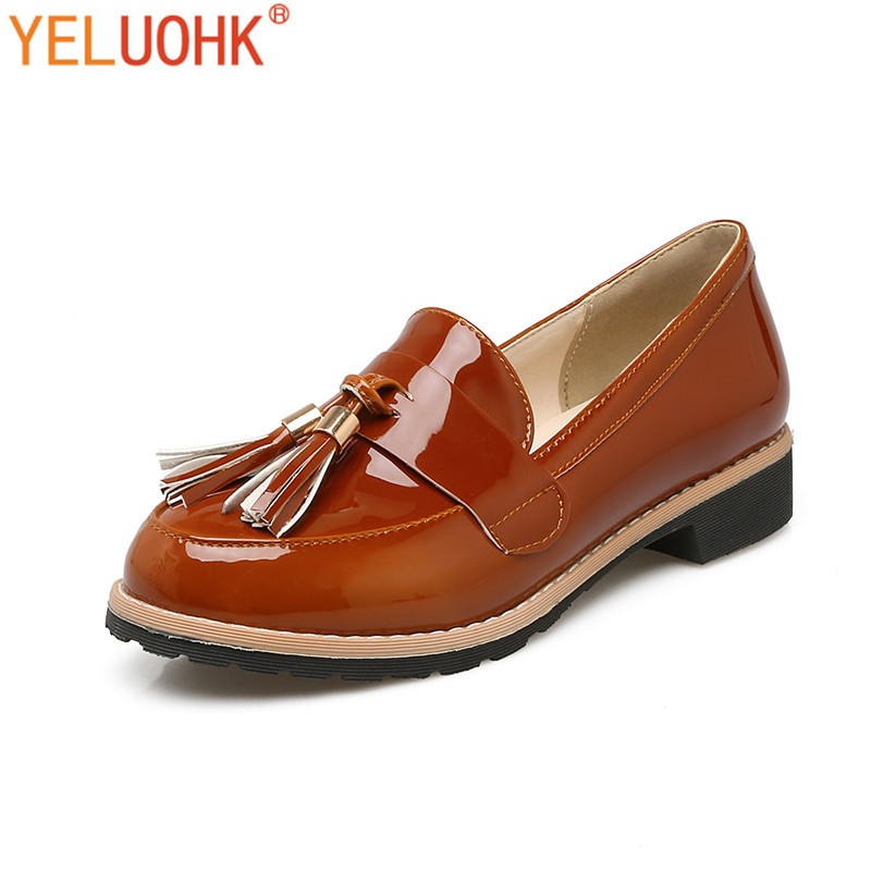 d94903f07a37 32 43 Fringe Moccasins Women Loafers Patent Leather Flat Shoes Women -in  Women s Flats from Shoes on Aliexpress.com