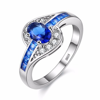 Blue Color Oval Zircon Stone Ring White Gold Filled Wedding Engagement Rings For Women Men Dropshipping