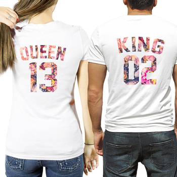 white king and queen print female tshirt