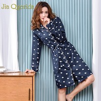 J&Q Bathrobe Women 2019 Spring New Bridal Robes Heart Print Lapel Cardigan Bride Kimono Brand Night Kimono Robe Plus Size Women