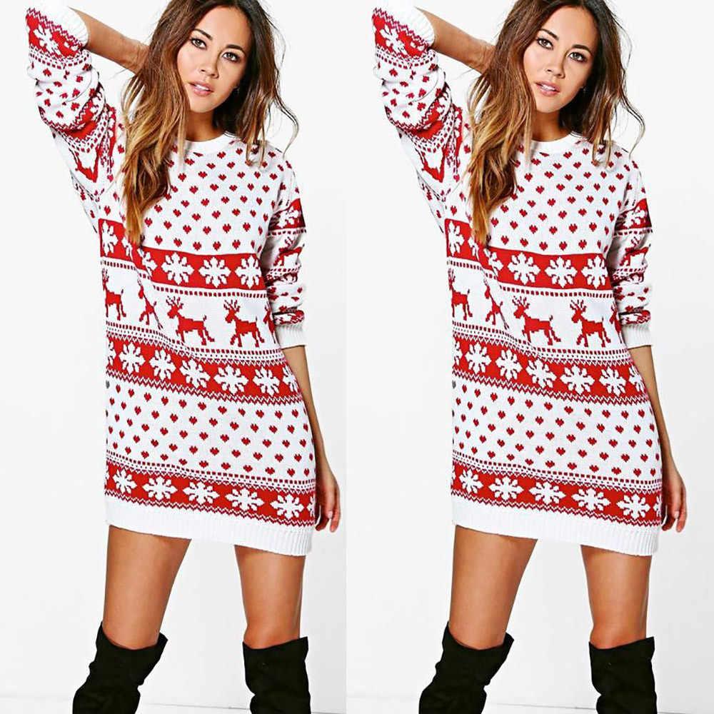 c73a731bbcb4 2018 Christmas Knitted Dress Women Christmas Fashion Bohemian Sweater  Dresses Womens Print Knitted Mini Dress