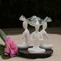 Meditación Incienso Aromaterapia Moderna Cerámica Artesanía Adorno de Yoga Aromaterapia vela Estufa Vela Esencial botella de Aceite de Cocina
