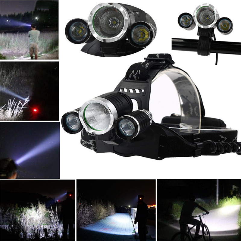 B2 Multifunction Headlamp XM-L 3 x T6 LED Headlight 18650 Light Holder Bag Camping & Hiking Adjustable Headlight 950lm 3 mode white bicycle headlamp w cree xm l t6 black silver 2 x 18650