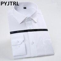 100% Hight 품질의 남자 긴 소매 비 철 비즈니스 트렌드 브랜드 캐주얼 사무실 셔츠 슬림 옷 XS-4XL