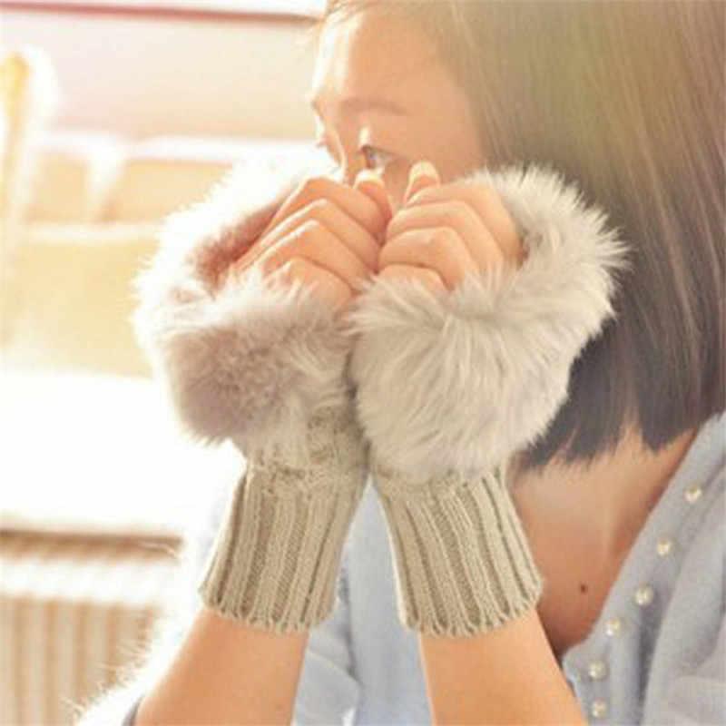 Новый модные зимние перчатки трикотажные хлопковые женские перчатки без пальцев плед лоскутное утолщаются теплые мягкие Handschoenen Invierno Mujer