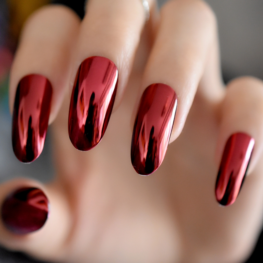Hot Sale Gorgeous Mirror Acrylic Nails Red Wine Round Extra Long ...