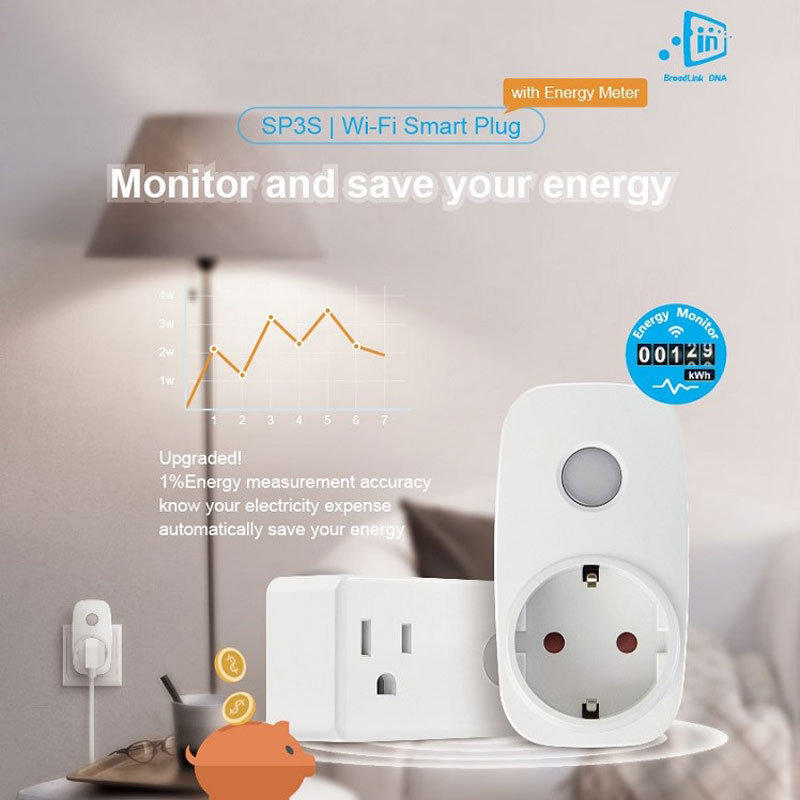 BroadLink SP3S UE Energy Saving Smart Home Remote Wifi Socket Power Plug 16A + Timer + Power Meter App Kontrola Wi-Fi Przez Ios Android