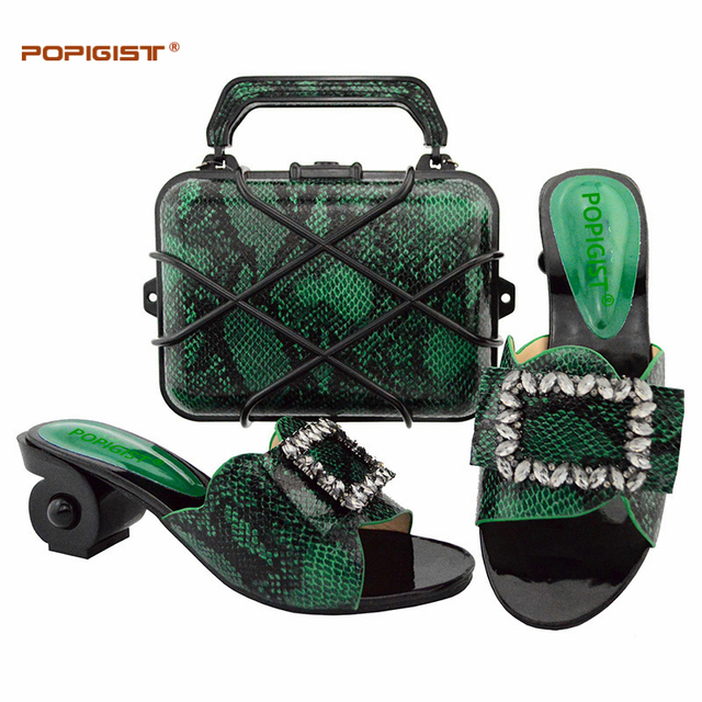 Green color Fashion Italian Shoes With Matching Bag African High Heels 6.5cm Women Shoes and Bags Set For Wedding Party