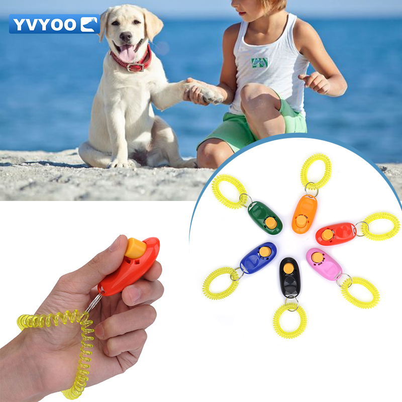 YVYOO 애완용 강아지 장난감 훈련 용품 아이언 리모콘 플라스틱 개 호각 무료 끈 인터랙티브 장난감 1 개 UH01