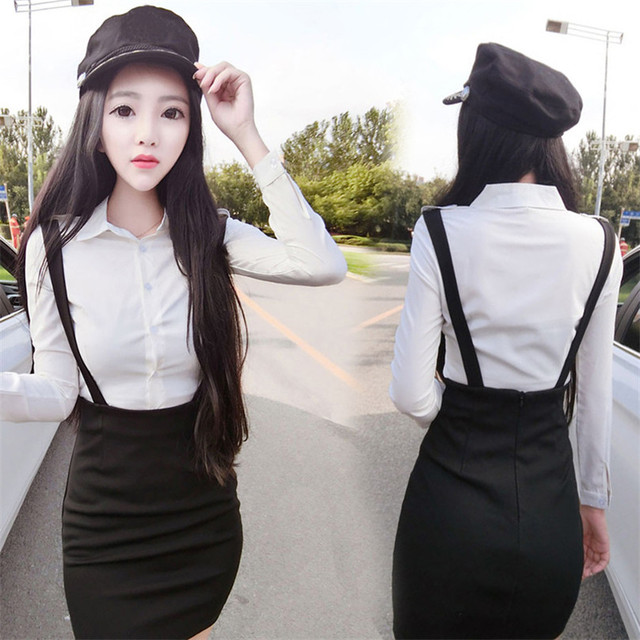 fd08b2d85d New Women Summer Suits white Blouse shirt Two-piece suit shirt and braces dress  black skirt for office lady profession girl sets
