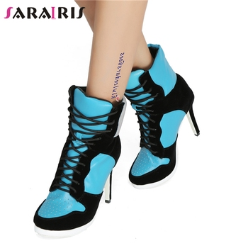 SARAIRIS Plus Size 36-47 Lace Up Booties Ladies Round Toe Thin High Heels Shoes Woman Autumn Winter Party Ankle Boots Women 2019
