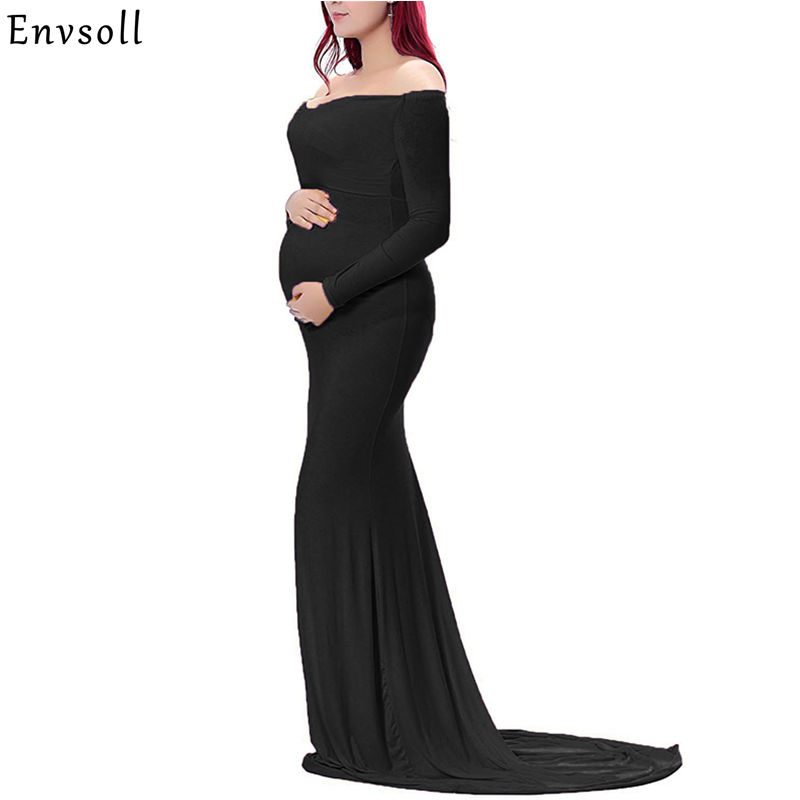 Envsoll Maternity Gown For Photography Props Maternity Photography Props Pregnancy Clothes Maxi Long Sleeve Maternity Dress недорго, оригинальная цена
