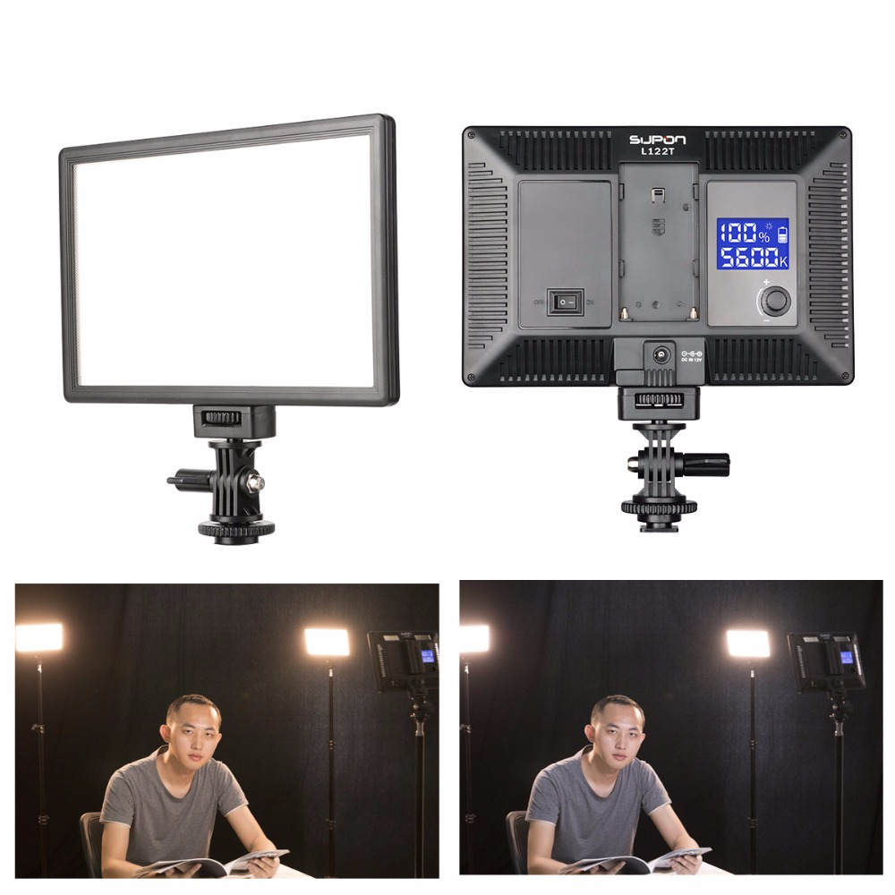 SUPON L122T 3300~5600K LED Lamp On-Camera Video Light Photography Studio Lighting  For Photo Youtube (Only LED Light)