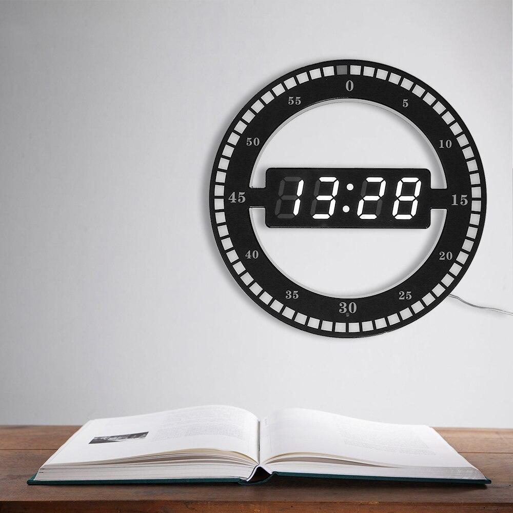 Circular Photoreceptive LED Digital Wall Clock Modern Design Dual-Use Dimming Digital Clocks For Home Decoration US EU PLUG