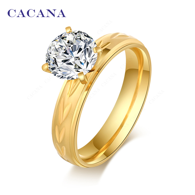 CACANA Titanium Stainless Steel Rings For Women Fashion Jewelry Wholesale NO.R10