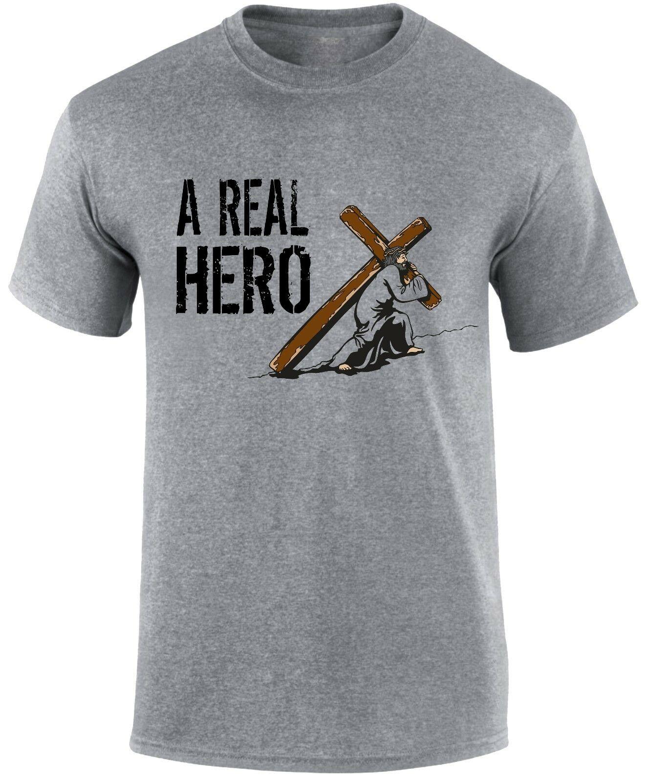 Футболка унисекс с надписью «Cool Real Hero Jesus Christ», «христианский слоган», «Евангелие», «Вера спасение», 2019