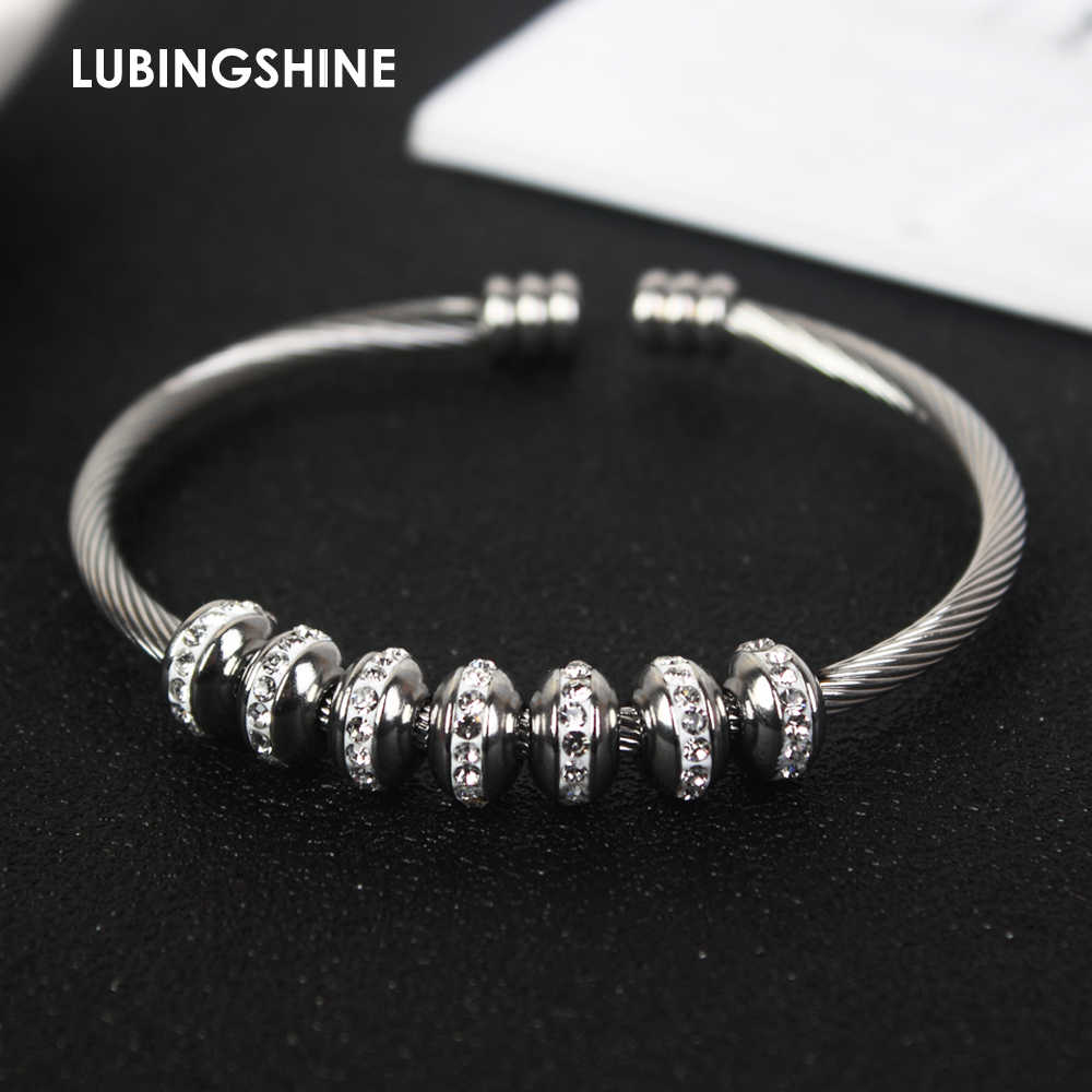 2019 New Stainless Steel Open Bracelet& Bangles Crystal Disco Ball Charms Silver Color Cable Wire Bracelet for Women Jewelry
