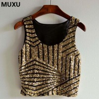 MUXU Gold Sequin Top Cropped Feminino Crop Top Cropped For Women Camisole Sexy Sleeveless Top Haut