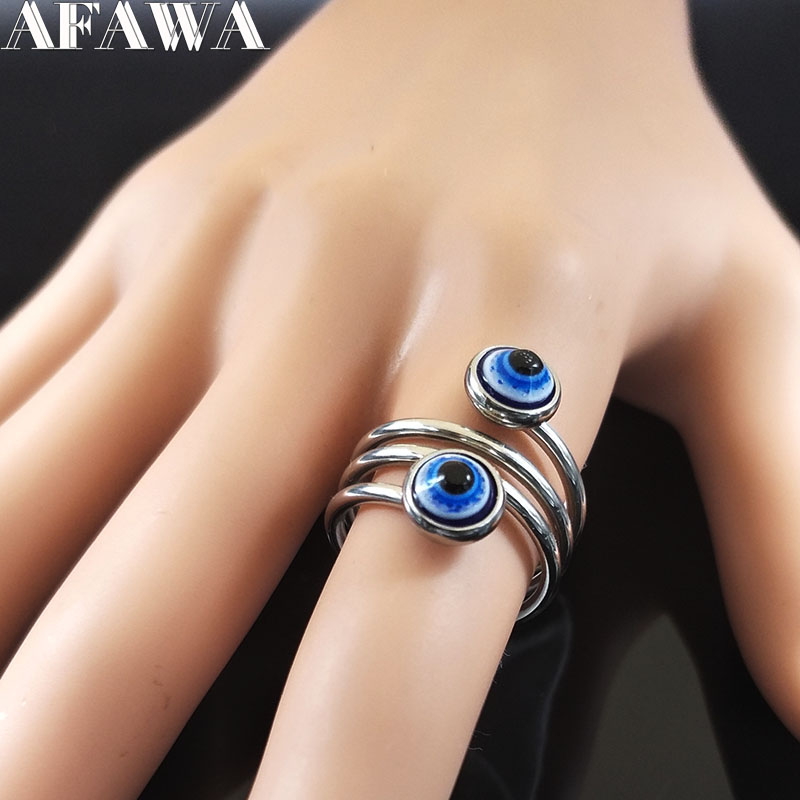 2018 Evil Eye Stainless Steel Ring jewellery Silver Color Islam Ring for Women Jewelry bague acier inoxydable pour femme R612217