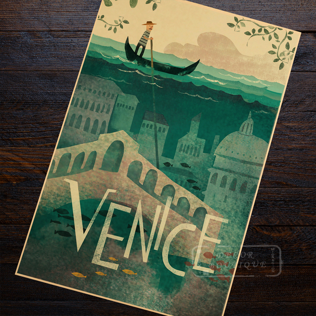 Venice Italy Watercity Future Travel Creative Design Retro Vintage Poster Canvas Painting DIY Art Home