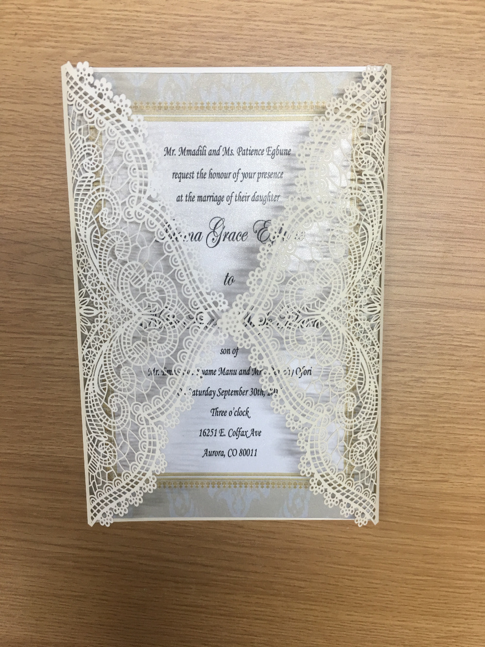 Newest fancy flower lace white laser cut card wedding invitations ...