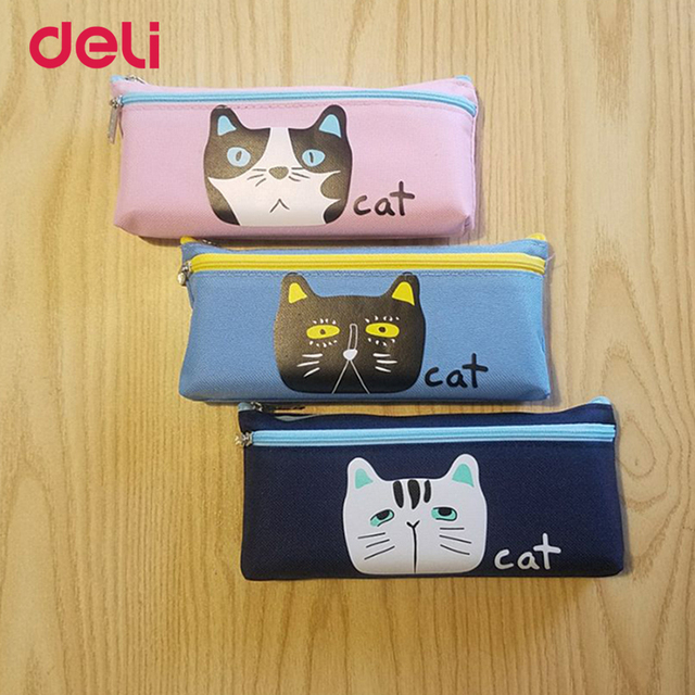 Deli wholesale Kawaii Cat Pencil Case for School student Supplies office Stationery Gift Cute animal Pencil Box Canvas bag girls