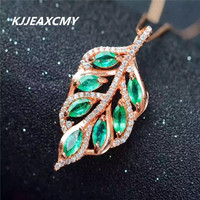 KJJEAXCMY boutique jewelry,925 sterling silver inlaid with natural emerald female Pendant with precious stones and leaves