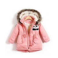 Autumn Winter Children Girls Warm Thick Jackets With Fur Hat Kids Parkas 90% Cotton Filling Girls Outdoor Coats 2 8 Years