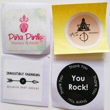 Özel Logo/tasarım etiket 30mm yuvarlak veya kare şekli kağıt etiketleri renkli baskı