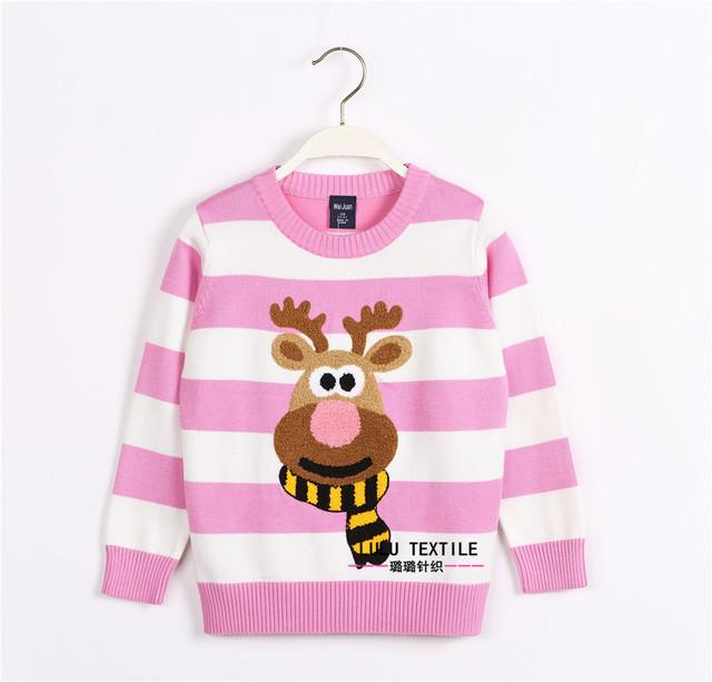 Nuevo invierno historieta de los bebés del suéter cervatillo niños ropa niños suéter caliente de manga larga para niñas prendas de punto