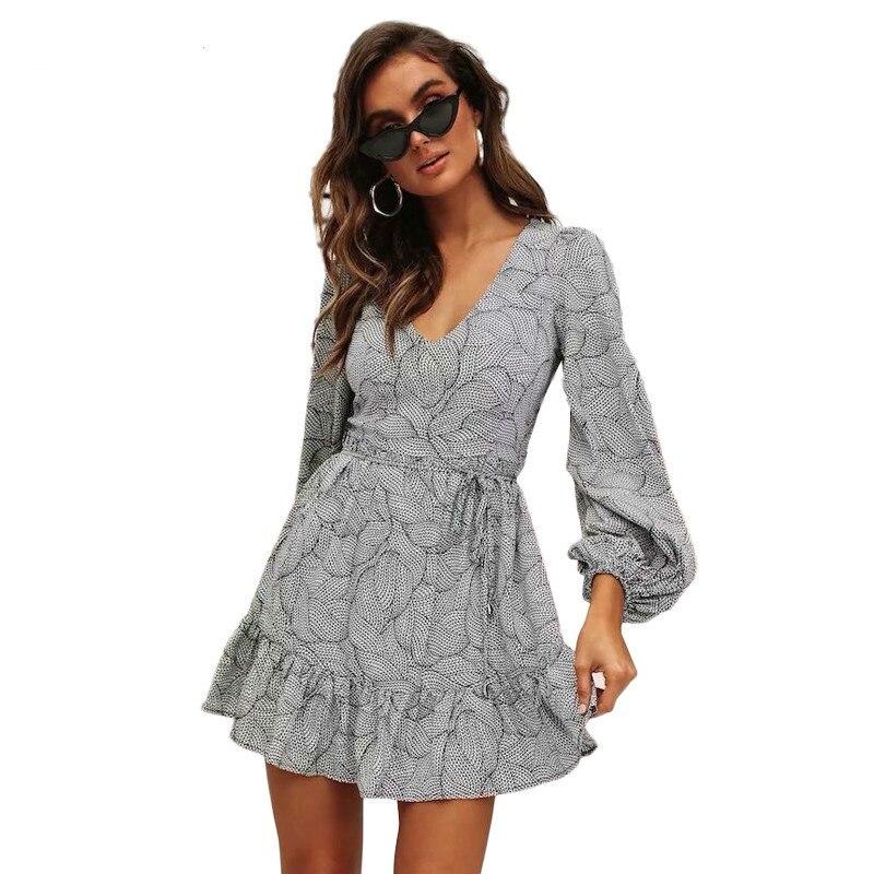 Yocalor Vintage feuille imprimer femmes robe de plage à manches longues lanterne col en V robe d'été taille mince élégant volants Vestido