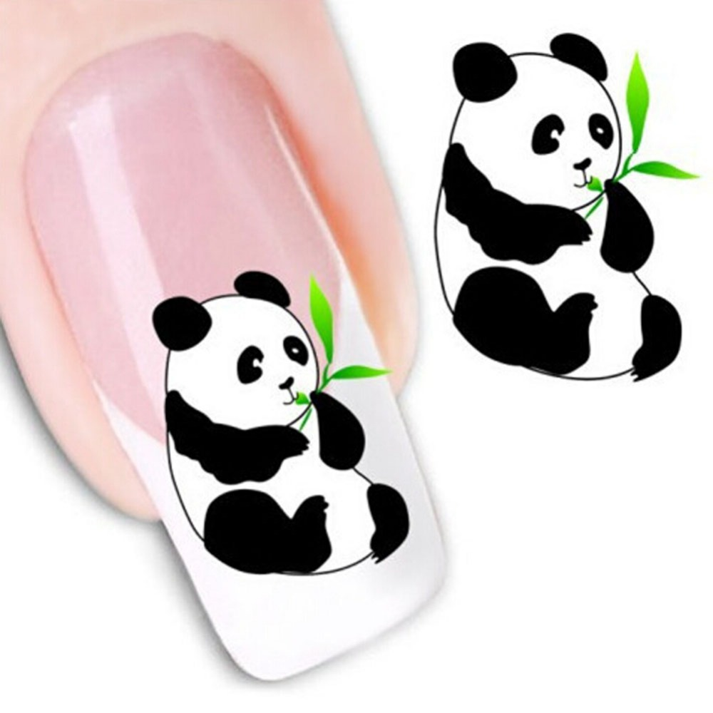 New design 3d water transfer printing nail art sticker decals cute lovely panda diy nail decoration styling tools