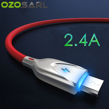 5V2. 4A Seng Pengisian Cepat 100 Cm Lampu LED Kabel USB TYPE C MICRO USB Charger Kabel Nilon Dikepang Tali untuk iPhone iPad Kabel(China)