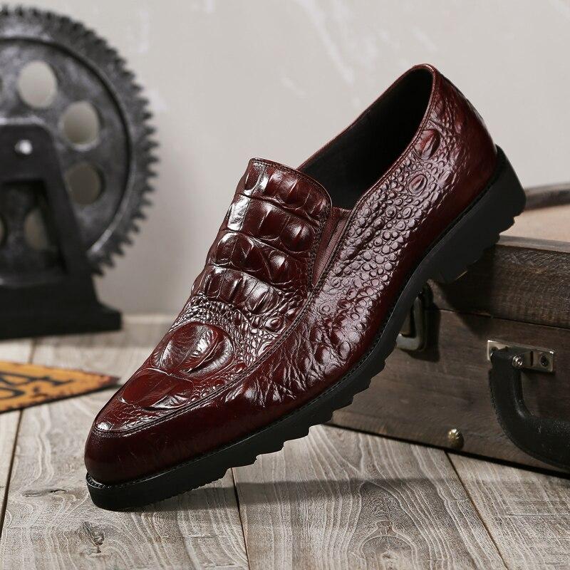 Мужские свадебные модельные туфли для отдыха, повседневные туфли-оксфорды из крокодиловой кожи для мужчин, деловые броги Вечерние обувь дл...