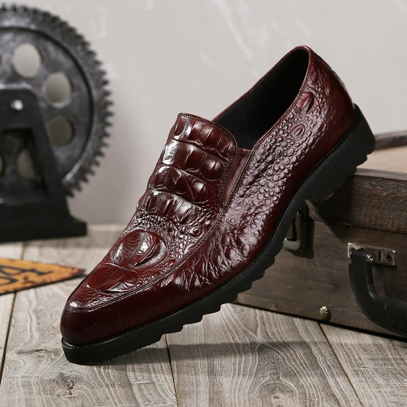 Zapatos De Vestir De Boda Para Hombre Zapatos Casuales De Cuero De Cocodrilo Oxfords Para Hombres Zapatos De Negocios Brogues Para Fiesta Mocasines De