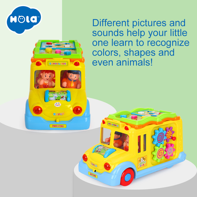 HOLA 796 Children Electric School Bus Music Car Including 8 Games & Animal Calls Early Educational Toys for Children Gift