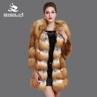 SISILIA 2016 Новый Red Fox пальто, Натуральная Кожа, Большой крышкой, Красный лис кожа шить кожа, Мода теплый натуральный мех пальто,Xорошо продаются