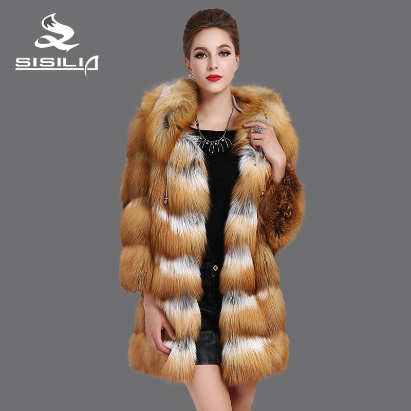 SISILIA 2016 New Red Fox coats,Genuine Leather,Big cap, Fox splicing leathert,Fashion warm natural fur coats