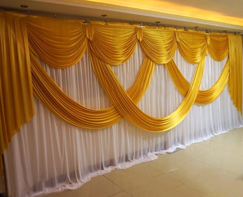 3 m * 6 m (10x20ft) 2018 Wedding Sfondi Tenda con lussuoso Oro Swag Ice Seta A Pieghe Da Sposa decorazioni