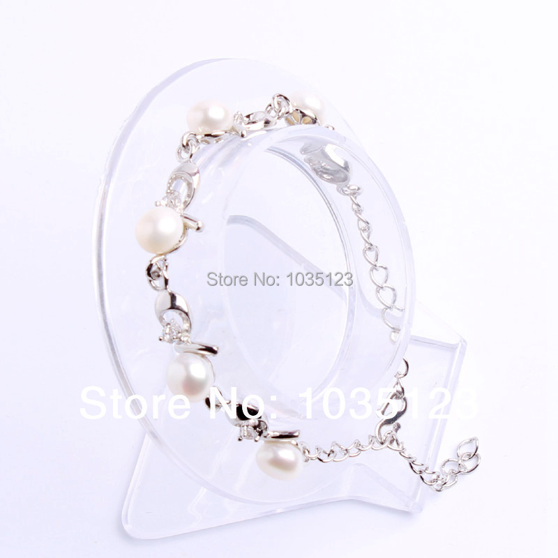 ᐂFree shipping Gift 7mm Pretty Vogue White Freshwater Pearl Alloy ...